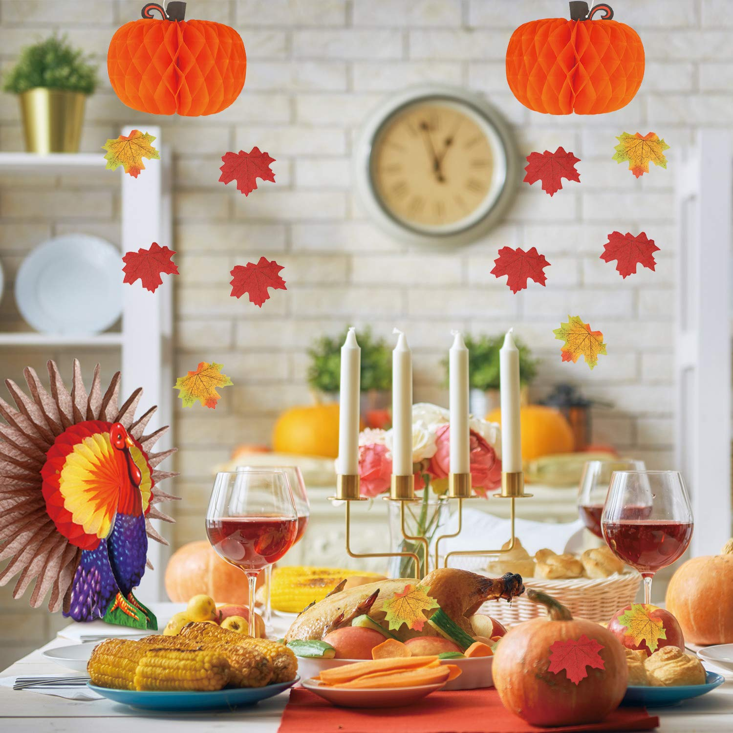 100 Pieces Artificial Maple Leaves Includes Give Thanks Bunting Banner Thanksgiving Turkey Centerpiece 104 Pieces Thanksgiving Party Table Decorations 2 Pieces Paper Honeycomb Pumpkin