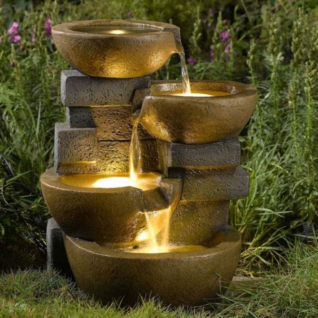 Amazon Com Jeco Inc Pots Water Fountain With Led Light Free Standing Garden Fountains Garden Outdoor
