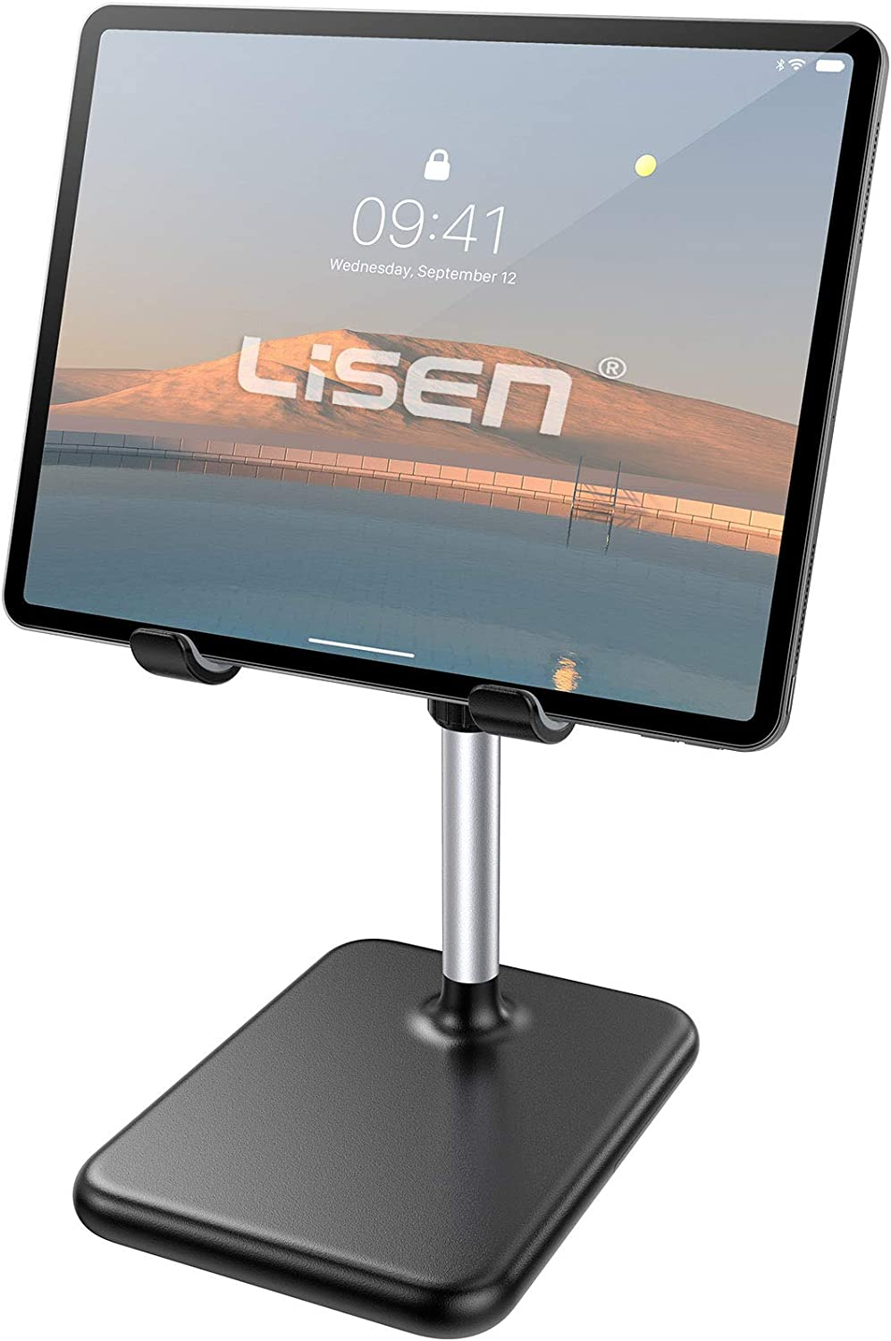 Tablet Stand Holder for Desk, Upgraded Enlarged Lisen iPad Holder Ultra Stable, Height Angle Adjustable Tablet Holder iPad Stand Compatible with All Tablets, iPad, Cell Phones(4-12in)