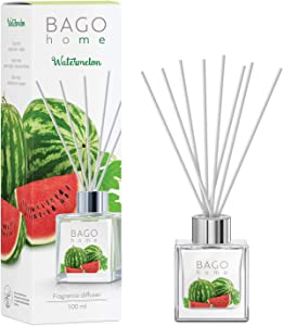 BAGO home Fragrance Oil Reed Diffuser Set with Sticks - Watermelon   Watermelon, Green Apple & Sandalwood Notes   100 ml 3.4 oz   Great Home, Office & Room Décor
