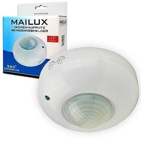 MAILUX – bms13114 Detector de movimiento por infrarrojos | Blanco | Aufputz | techo – Fregadero