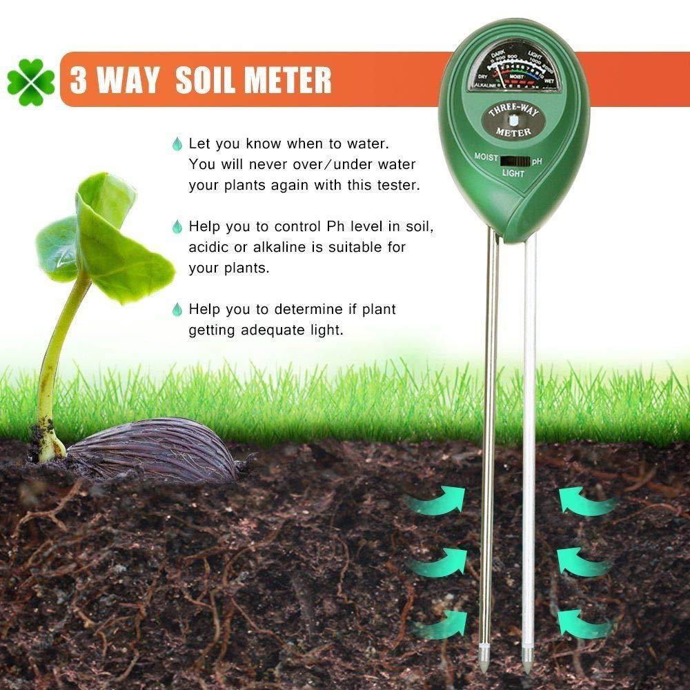 pelouse SENRISE PH m/ètre de sol kit de test de sol pour jardin ferme pas besoin de pile kit de test de sol 3 en 1 pour la lumi/ère et l/'acidit/é du PH int/érieur et ext/érieur