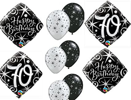 Amazon.com: 10pc BALLOON set 70th BIRTHDAY over the hill BIRTHDAY party BLACK silver classy decorations: Everything Else