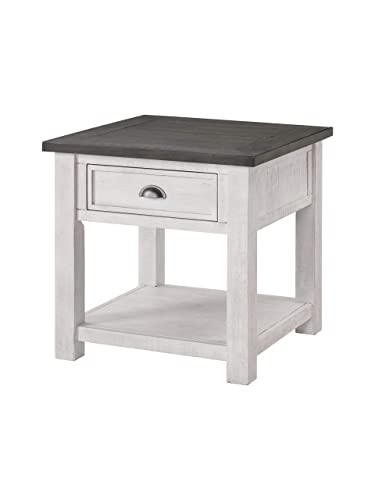 Martin Svensson Home Monterey Solid Wood End Table White with Grey Top
