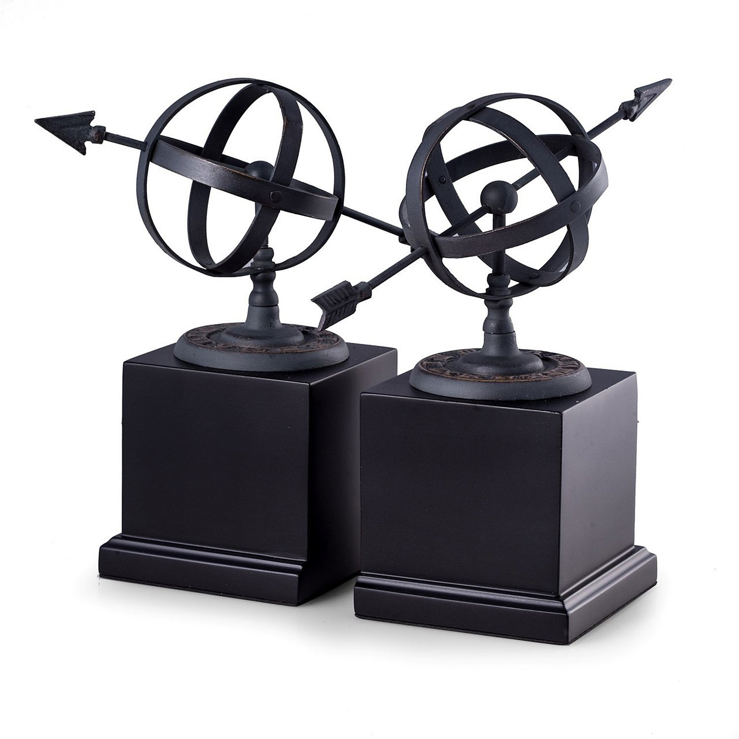 KensingtonRow Home Collection BOOKENDS - ARMILLARY SPHERE BOOKENDS - SUNDIAL BOOKENDS