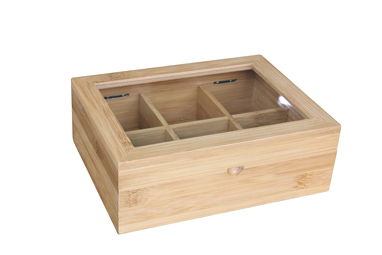 Home Basics Bamboo Tea Box Storage Display Chest with 6 Compartments, Natural HDS Trading Corp TB47232