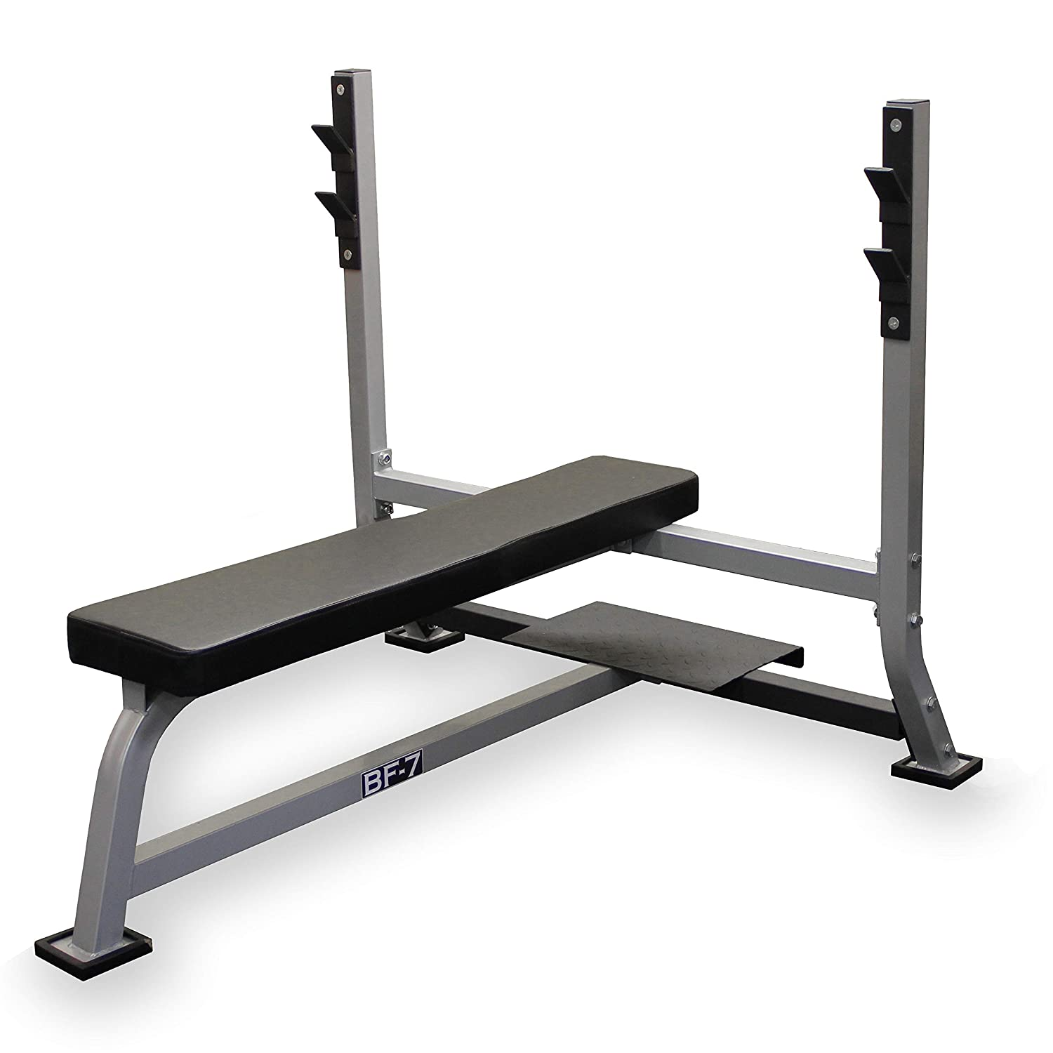 Valor Fitness BF-7 Olympic Bench with Spotter Stand Plus Bundle Option with Chrome Olympic Bar and Olympic Plate Set