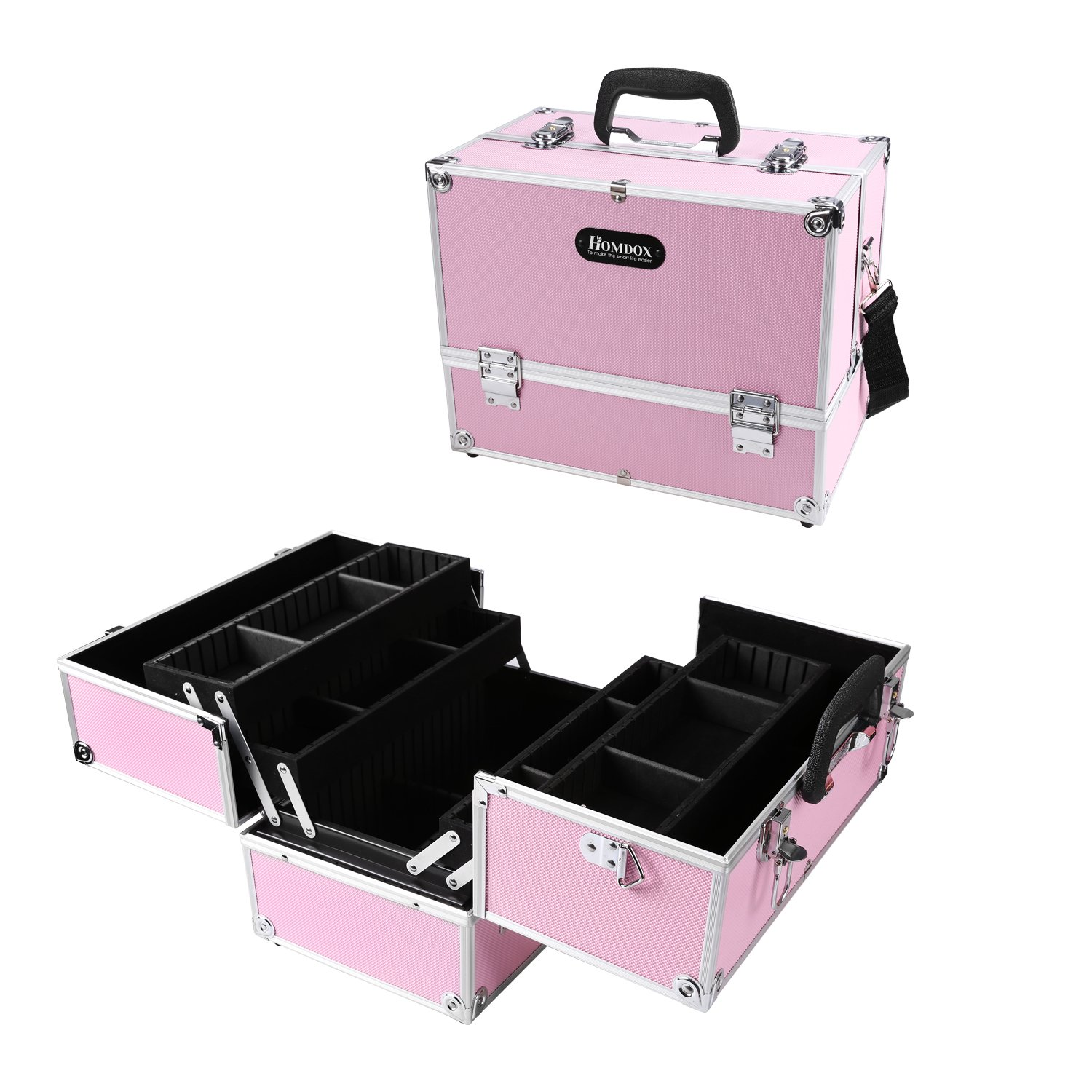 """Amazon.com: Dorfin Locked Makeup Case - 14"""" Cosmetic Case 4 Trays & Key Lock with Adjustable and Removable Dividers Lockable Cosmetic Organizer Makeup Box ..."""