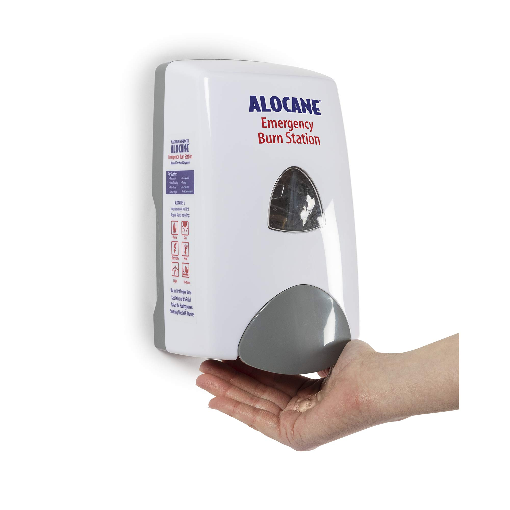Alocane Maximum Strength 4% Lidocaine Emergency Burn Gel Burn Station Dispenser, Commercial Grade, Aloe Vera, Vitamin E, Great for Restaurants and Other Heat Related Work environments by Alocane