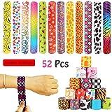 VCOSTORE 52 Pcs 80s Slap Bracelets, Retro Slap Bracelets Party Favors Pack Animal Print Slap Wrist Bands for Kids Teens…