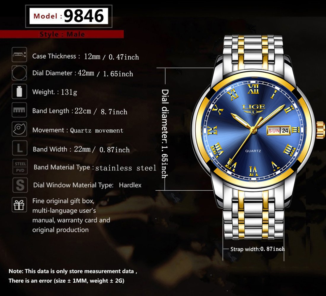 Watches,Mens Full Stainless Steel Blue Men Watch Luminous Quartz Analog Watch Fashion Casual Business Dress Wristwatch Silver Waterproof 30M Casual Clock