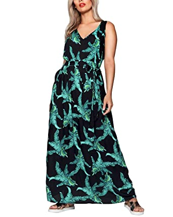 Amazon.com: CACNCUT Women\'s Plus Size Maxi Dresses Sleeveless Green ...