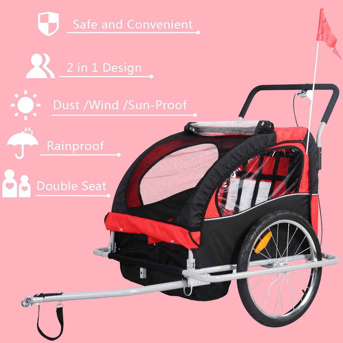 Bicycle Carrier Double Baby Bike Trailer Jogger Stroller 2 in 1 by Caraya (Image #2)