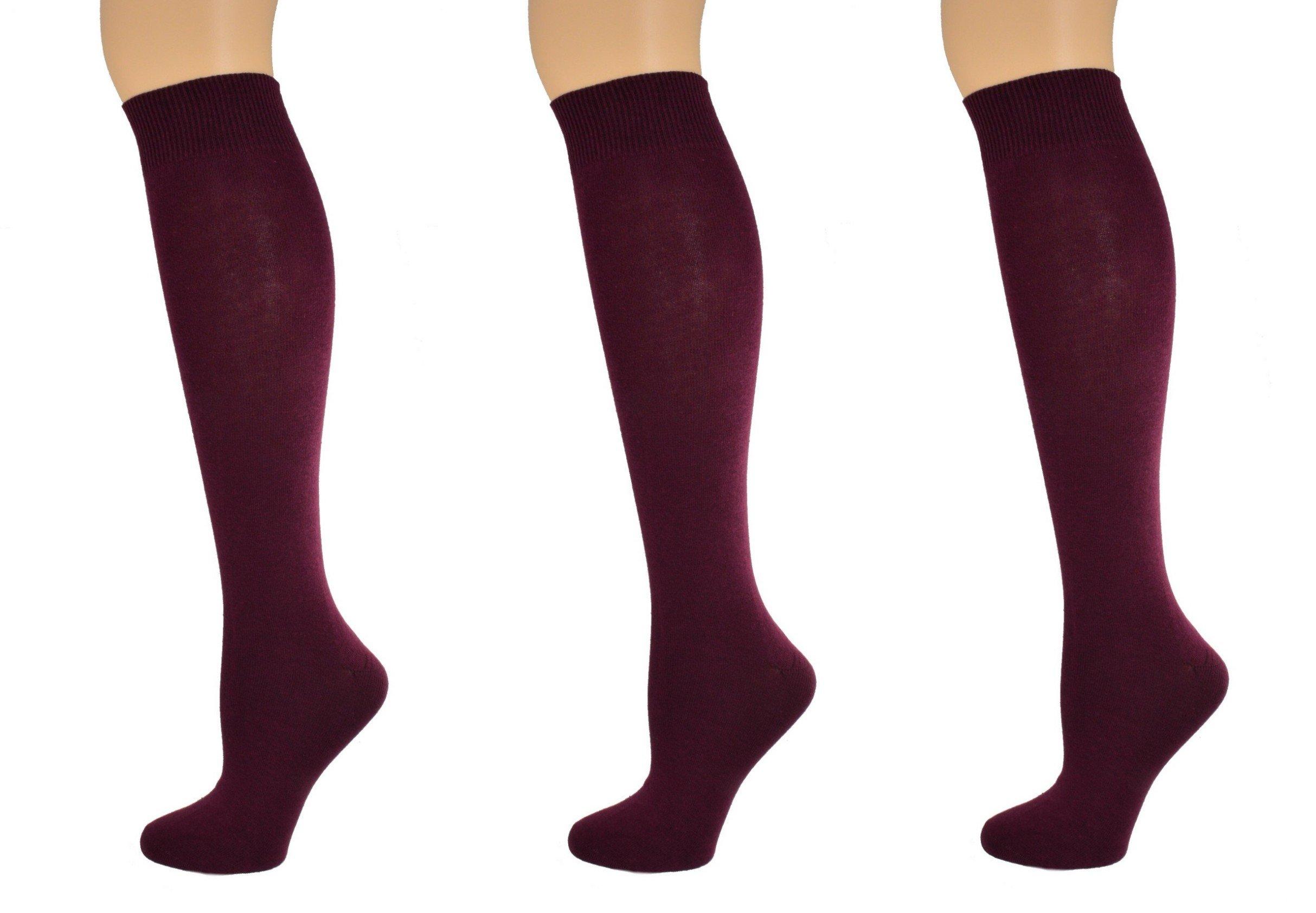 Sierra Socks Girl's School Uniform Knee High 3 pair Pack Cotton Socks G7200 (M/Shoe Size 12-6, Maroon)