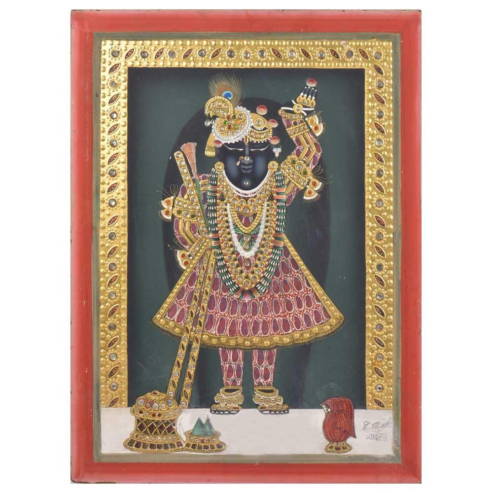 IndianShelf Handmade Paper Tanjore Sreenathji Painting Online by IndianShelf