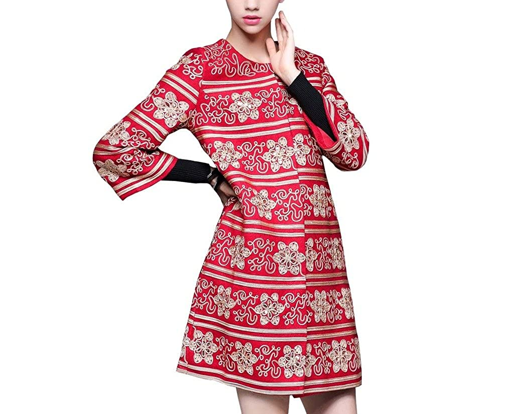 QYTong Women's Mediunlong Sleeve Floral Embroidered Knitted Wool Coat Outerwear