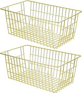 SANNO Wire Baskets Storage Baskets, Large Storage Decor Crafts, Kitchen Organizing Basket Set, Great for Home, Bathroom, Tables & Countertops, Office
