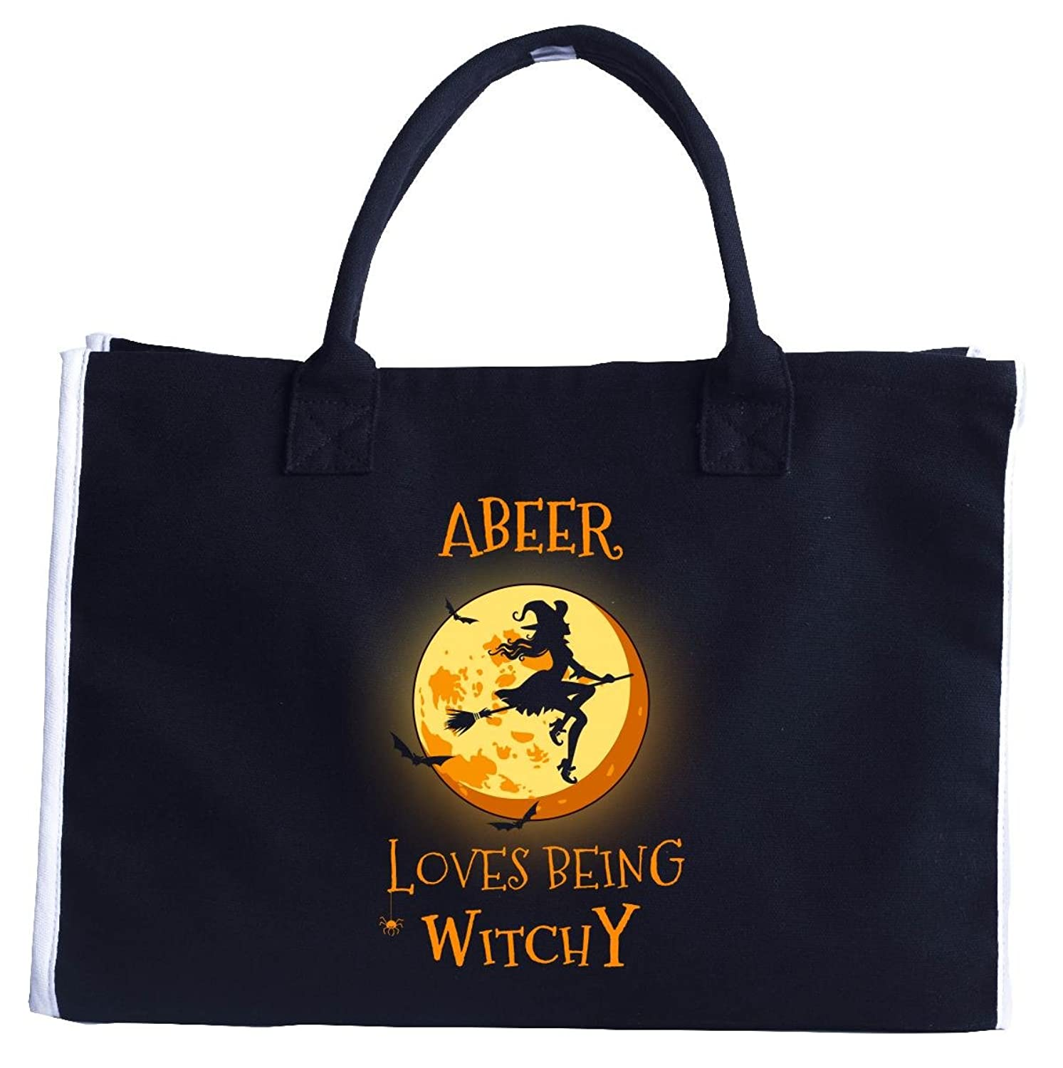 Abeer Loves Being Witchy. Halloween Gift - Fashion Customized Tote Bag