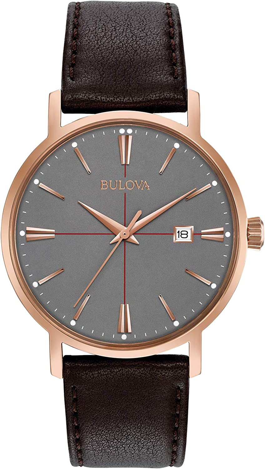 Bulova Men s 39mm Classic Rose Goldtone Brown Leather Strap Watch