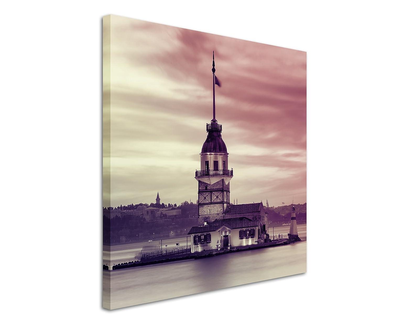 60x 60cm photo toile image dans mauve Tour de Léandre Istanbul