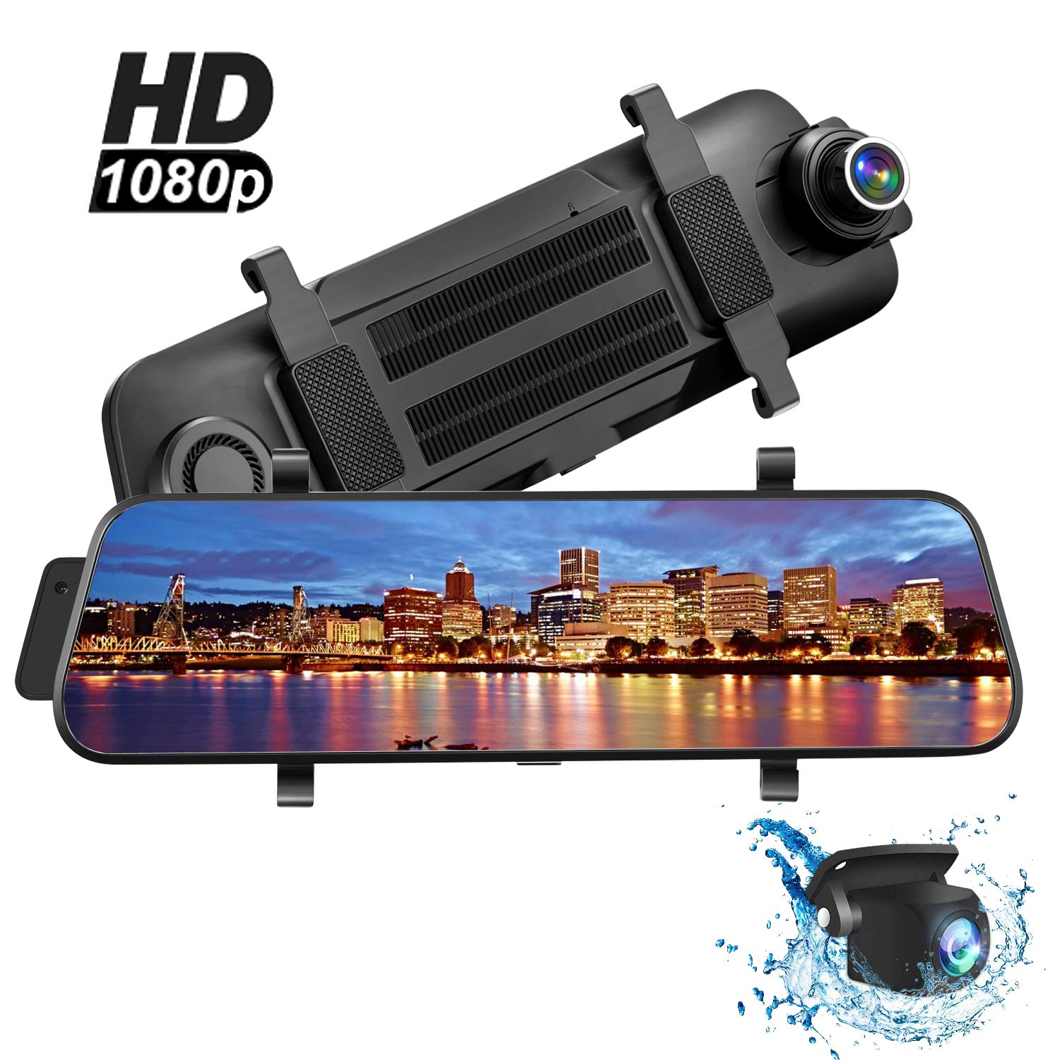 Mirror Dash Cam, 10'' HD Backup Camera, Dash Cam Touch Screen 1080P and 150°Wide Angle Rear Full Touch Screen Rear View Mirror Camera, Waterproof Dash Camera, Night Vision Front Camera Recorder