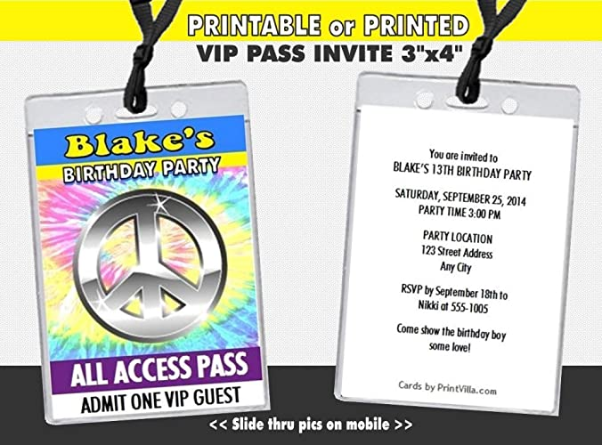 Amazon Peace Love Birthday Party VIP Pass Invitation