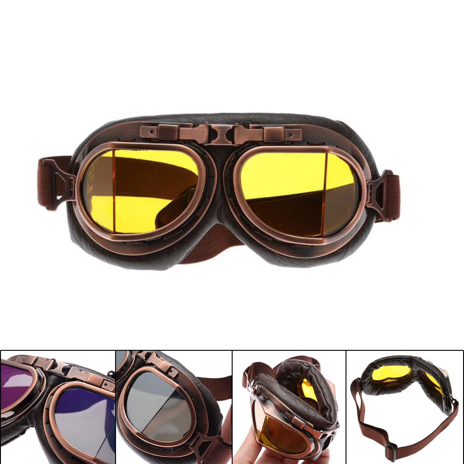 62f96dd54 MENGCORE Motorcycle Goggles Glasses Vintage Motocross Classic Goggles Retro  Aviator Pilot Cruiser Steampunk ATV Bike UV Protection Copper (Yellow Lens)