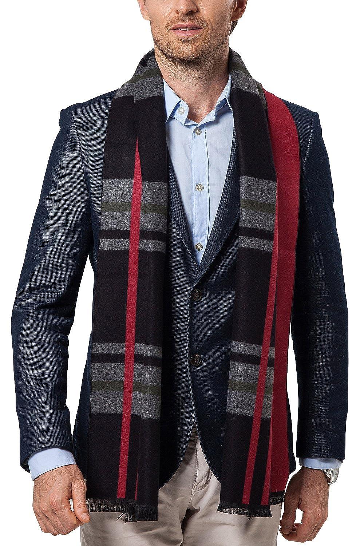 Dolamen Unisex Men Women Scarf Scarves with Tassels, Mens Light & Soft Luxurious Winter Wool Plaid Cashmere Scarf, Warm Neckerchief for Leisure & Business