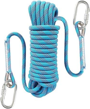 Liberry - Cuerda de Escalada estática para Exteriores, 10 mm de diámetro, Cuerda de Seguridad de Escape de Incendios con mosquetón: 32 pies, 64 pies, ...