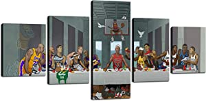 "The Last Supper NBA Basketball Player Wall Art Jordan O'Neill James Durant Kobe Bryant Posters Modern Home Decor 5 Piece Canvas Painting HD Pictures Print Stretched and Framed Ready to Hang[50""Wx24""H]"