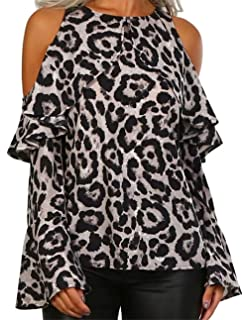 39092d0bf8a90b Leopard Print Blouse Shirt Women Cold Shoulder Long Bell Sleeve Cut Out Top  Shirt