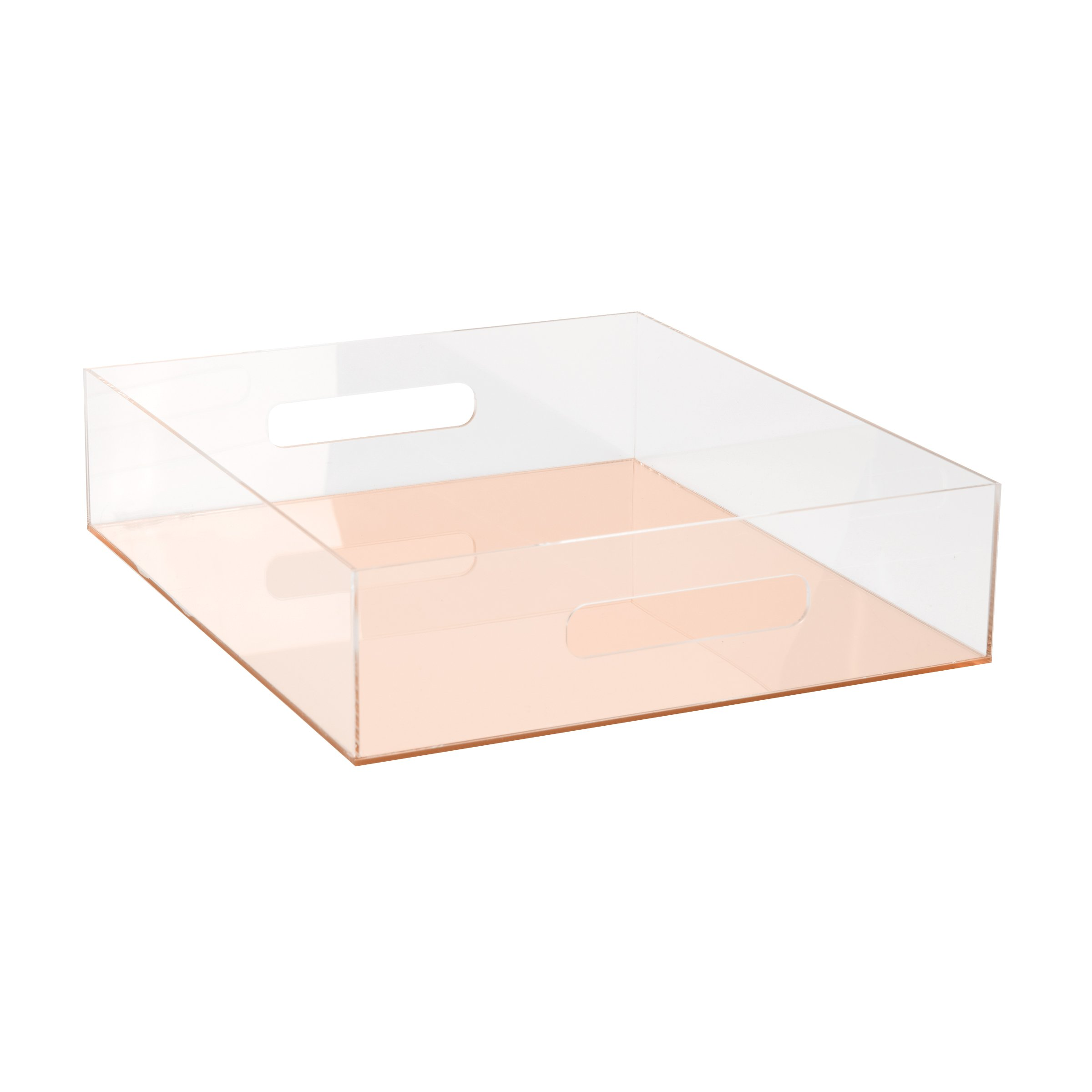 C.R. Gibson Clear Acrylic Letter Tray, Mirror Panel, Measures 10.5'' W x 12'' H x 3'' D - Rose Gold