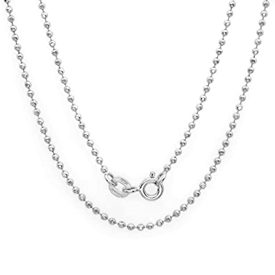 871a5a5068a26 Amazon.com: Sterling Silver 1.5 mm Diamond-cut Pallini Bead Ball ...