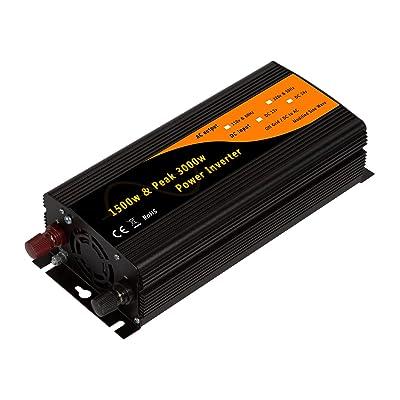 1500w & 3000w Peak Car Power Inverter Adaptor DC12v to AC110v 60Hz with Dual 2.1A USB&USA Socket: Garden & Outdoor