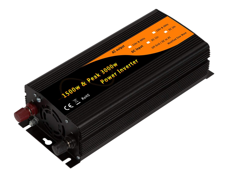 1500w & 3000w Peak Car Power Inverter Adaptor DC12v to AC110v 60Hz with Dual 2.1A USB&USA Socket by Generic