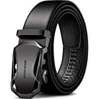 Men's Fashion Leather Belts with Automatic Ratchet Buckle belt
