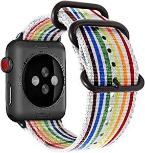 dkplnt 38mm 40mm Rainbow Compatible Apple Watch Band Nylon Pride Colorful LGBT Black NATO Buckle iWatch Band Series 5 4 3 2 1 Women Men