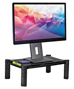 "Mount-It! Desktop Computer Monitor Riser - Height Adjustable Tabletop Stand Shelf for PC and Laptop Displays and Printers, 19 x 13 Inch, 6.6"" High, Black"