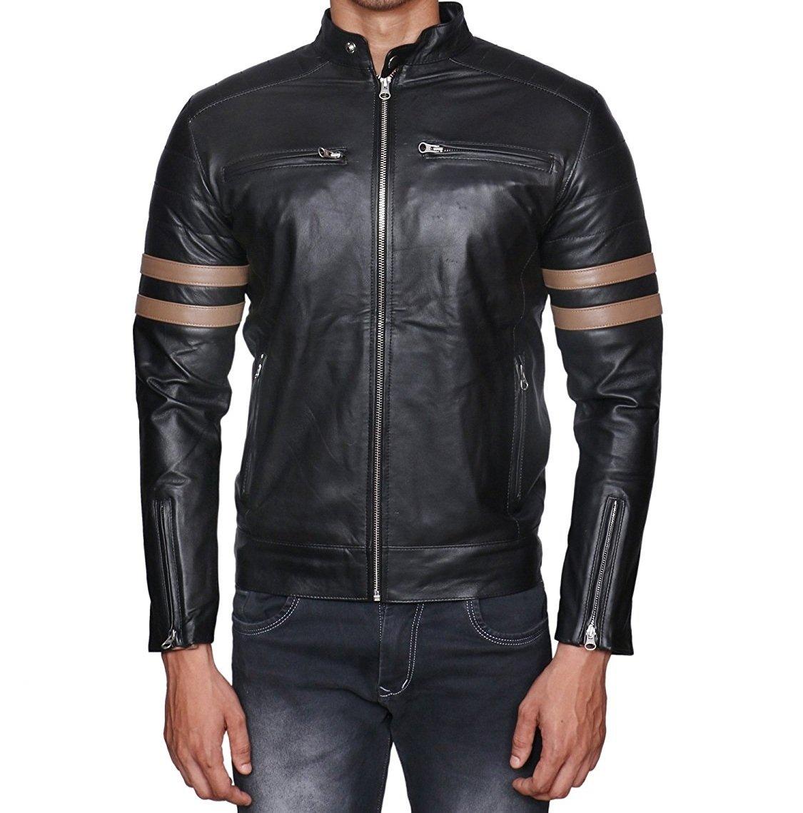 HI CLASS LEATHER Men's Lambskin Leather Jacket Large Black