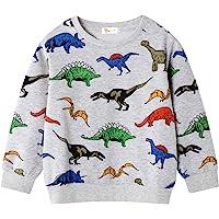 Toddler Boys Sweatshirts Long Sleeve Sport Elephant Sweat Shirt Dinosaur Pullover Crewneck Tops Tees Kids 2-7 Years