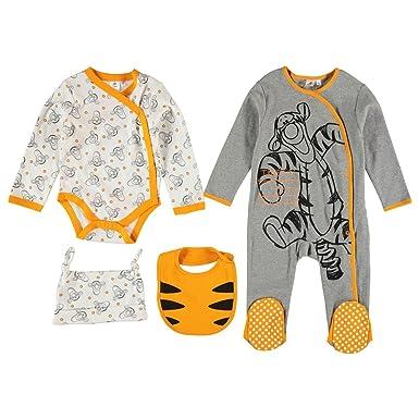 13f7db4e6686e Disney Tigger Romper Suit Sleepsuit Hat and Bib Set Baby Grey/White/Orange  6-9 Months: Amazon.co.uk: Clothing