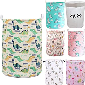 Unibedding Laundry Storage Basket Canvas Hamper Foldable Waterproof Storage Bin for Kids Room, Boy, Nursery Toy Organizer, Holiday Fall Decor, Dinosaur