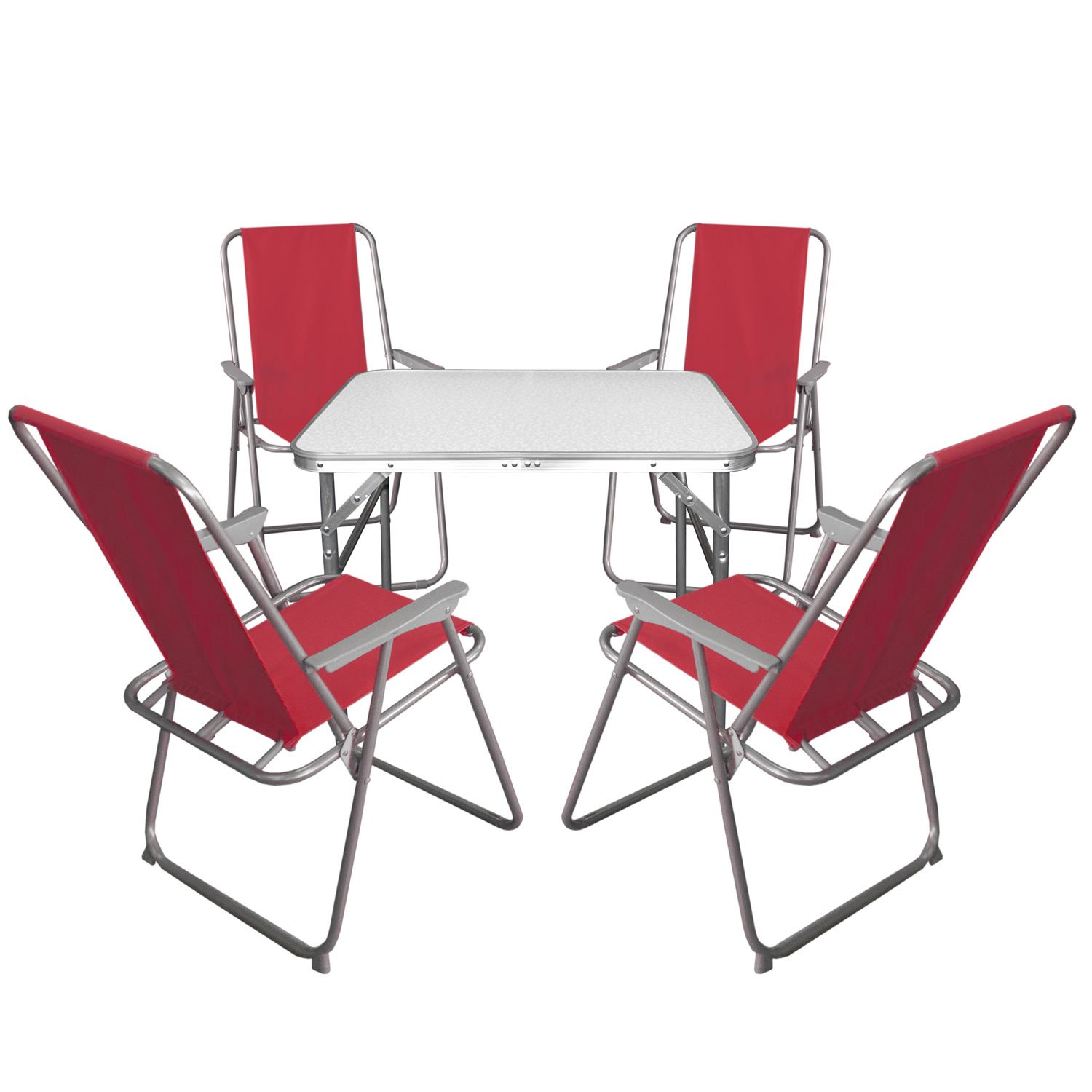 5tlg campingm bel set klapptisch aluminium 55x75cm 4x klappstuhl rot campingstuhl. Black Bedroom Furniture Sets. Home Design Ideas