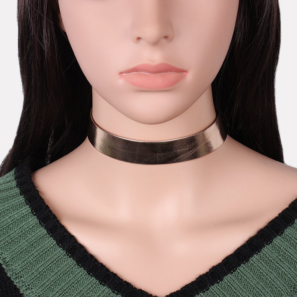 CYBLING Wide Rose Gold Silver Choker Collar Necklaces for Women Girls Adjustable