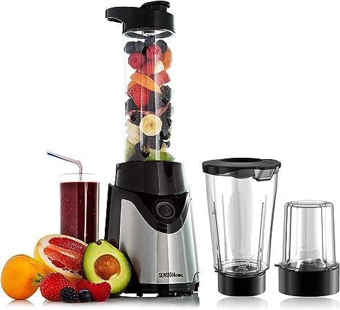 Sensio Home Personal Blender Smoothie Maker Electric Juicer Grinder for Fruit, Vegetables, Protein Shakes ???BPA Free 600ml Portable Sports Bottle,