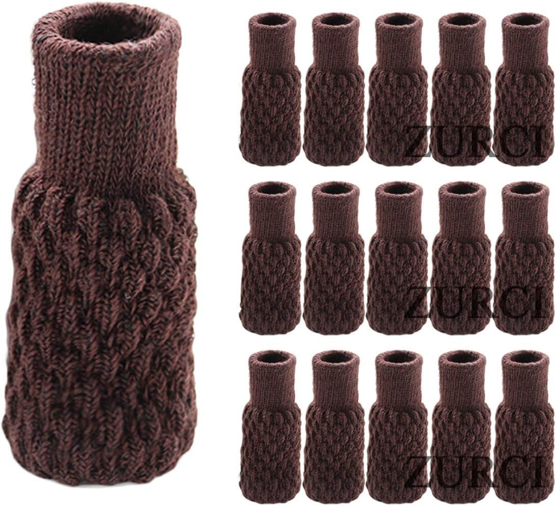 Zurci 16PCS-4 Set Chair Leg Socks Knit Non-slip Table Floor Protector Furniture Feet Covers (16, Color1)