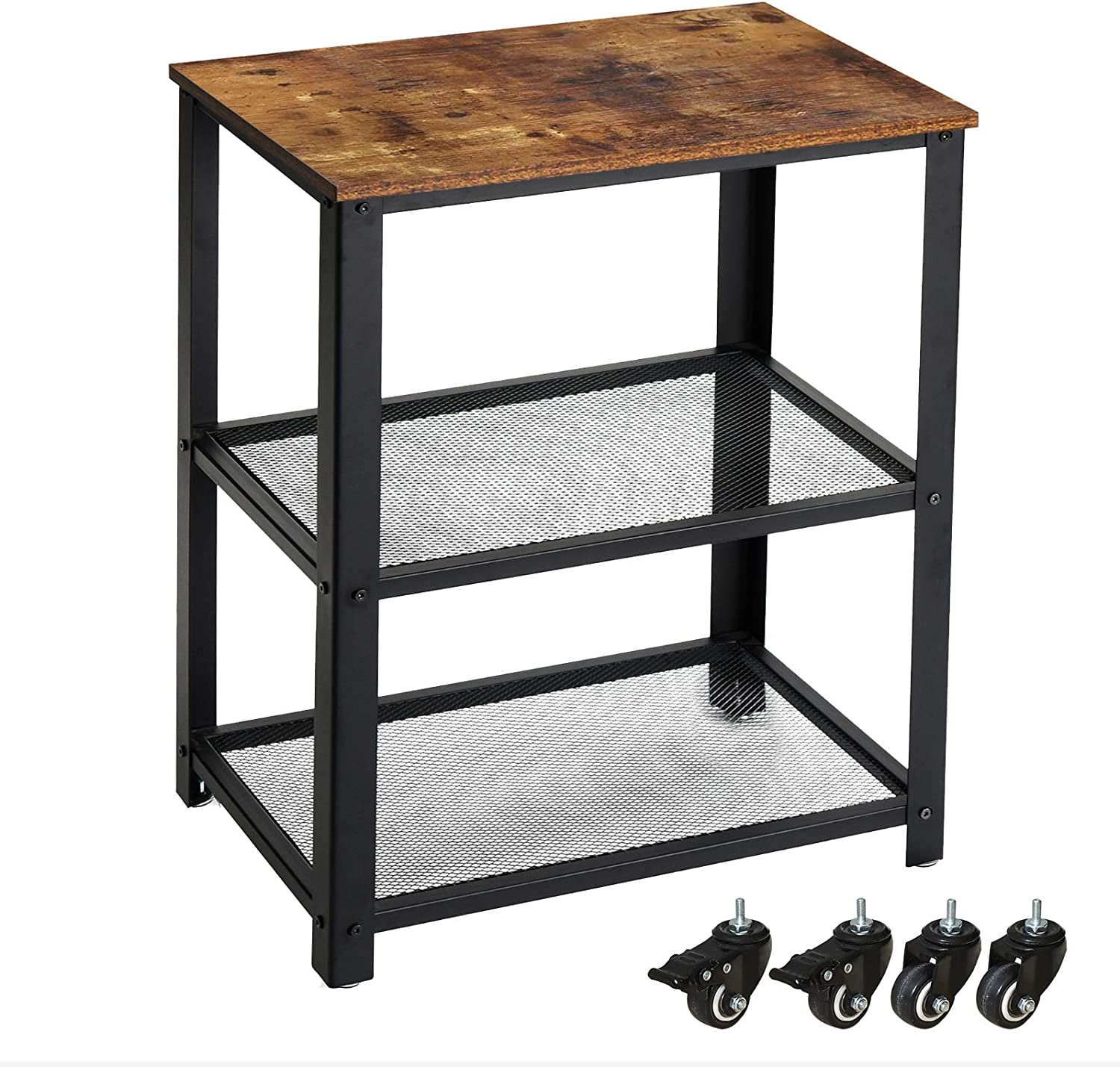 IBUYKE Bar Cart, Kitchen Serving Cart, 3-Tier Kitchen Utility Cart on Wheels with Storage, Rustic Brown and Black GL-TMJ011H