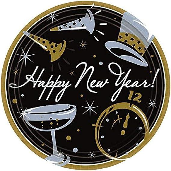 6 Pk. Cheers to a New Year Premium Plastic Round Plate