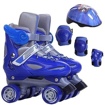 Sunkini Patines para niños Double Line 4 Patinaje sobre ruedas Zapatos de tamaño ajustable Sliding Child Gifts Slalom Patines en línea Niños Niños Niñas ...