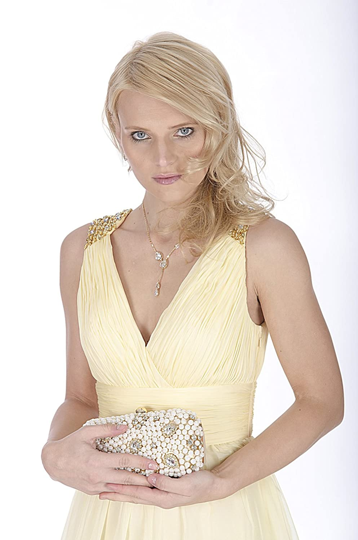 Beautiful V Neck Full Length Evening Dress in Corn Silk - EDK12210